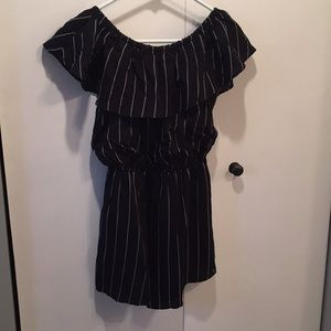 Black and white striped off the shoulder romper